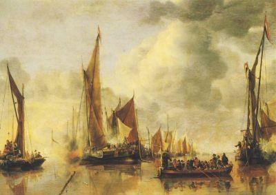 Jan van de Cappelle. Begrüßung der Staatsschalupe