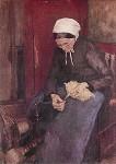 Fritz Mackensen. Die alte Wollspinnerin, 1891. KK