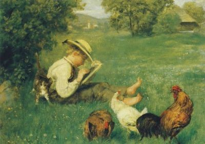 Hans Thoma. Nach der Schule, 1873. KK