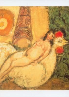 Marc Chagall. Nackt auf einem Hahn, 1925. KK