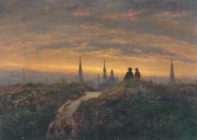Carl Gustav Carus. Blick auf Dresden bei Sonnenunterg. 1822