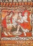 Fußwaschung. Älteste Romanische Kirchendecke 1130. KK