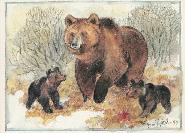 Björk, Ingvar. Bärenmutter mit Jungen. KK