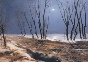 Carl Blechen. Landschaft im Winter bei Mondschein, ca. 1836