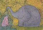 Korth-Sander. Elefant, duscht ein Schweinchen. KK