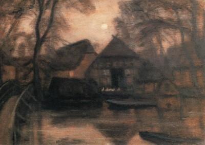 Otto Modersohn. Wümmesteg mit Mond, 1932
