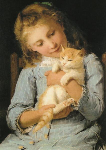Albert Anker. Mädchen mit Katze, 1881. KK