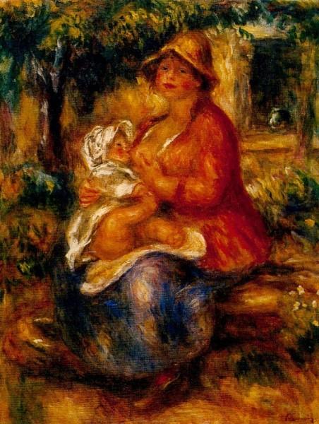 Piere-Auguste Renoir. Aline Renoir ihren Sohn stillind, 1915