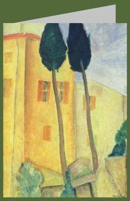 Amedeo Modigliani. Zypressen und Haus, 1919
