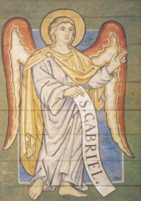 Erzengel Gabriel, Glasfenster Hildesheim. KK