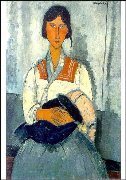 Modigliani, A. Zigeunerin mit Kleinkind, 1919. KK