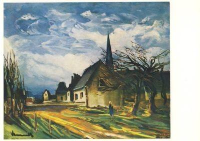 Vlaminck, M. Dorfstraße mit Häusern und Kirche.