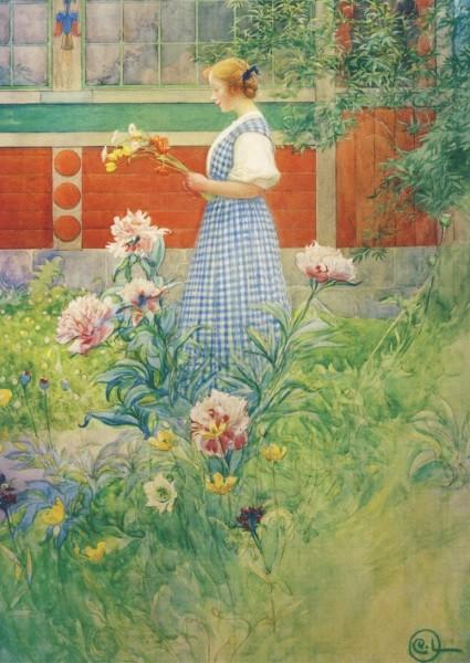 Carl Larsson, Lisbeth mit Pfingstrosen, 1908
