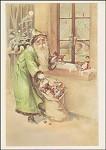 Der Weihnachtsmann am Fenster. Altes Motiv um 1900. KK
