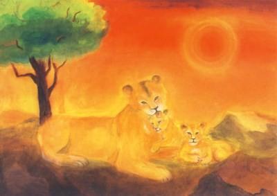 Dorothea Schmidt. Löwenmutter mit zwei Jungen