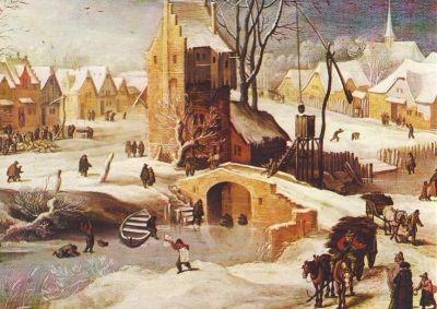 Joos de Momper. Dorflandschaft im Winter. KK