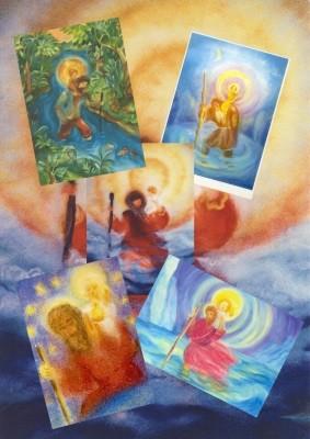 """Set """"St. Christophorus"""" mit 5 verschiedene Karten"""