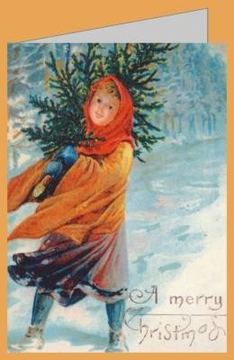 """Viktorianische Weihnachtskarte """"A Merry Christmas"""""""